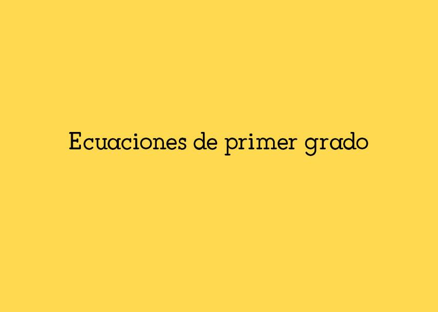 Ecuaciones de primergrado